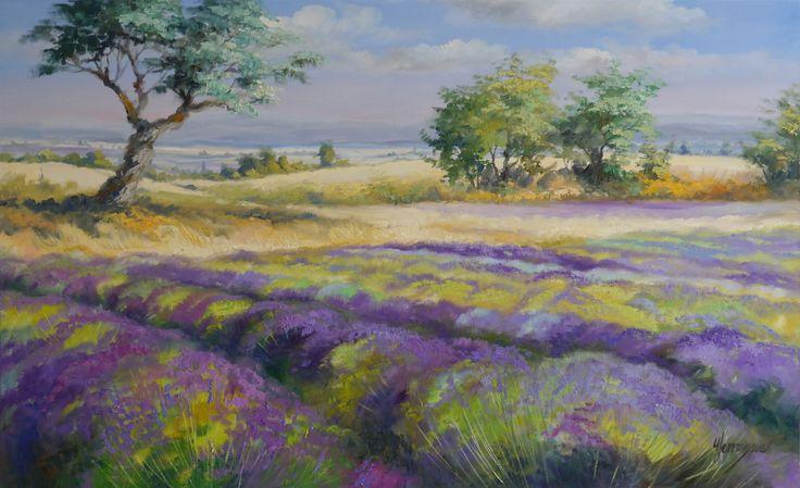 Landschaft mit Lavendel in der Provence - Blick über die Weite der Felder. Im Südosten von Frankreich, in den Départements Hautes-Alpes, kann man die Lavendelblüte herrlich beobachten | Original Gemälde, Öl auf Leinwand von Ute Herrmann #fineart #provence #landscapeart