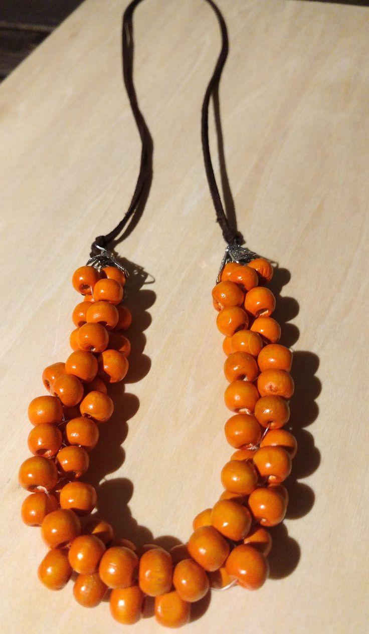 #handmade #wooden beads #orange necklace