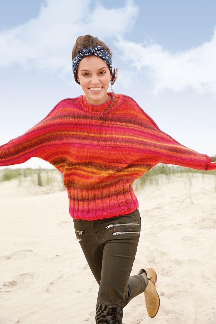 Orange-Pink melierten Fledermaus-Pullover selber stricken mit einer Strickanleitung aus Rebecca- mein Strickmagazin und dem ggh-Garn JOKER (53% Schurwolle / 47% Polyacryl). Garnpaket zu Modell 6 aus Rebecca Nr. 64 - by Rebecca Magazine