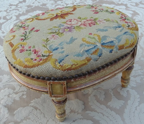 ANTIQUE FRENCH LOUIS XVI STYLE NEEDLEPOINT UPHOLSTERED PAINTED OVAL FOOTSTOOL