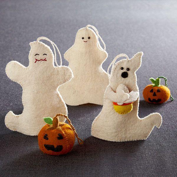 Halloween felt ghost ornaments