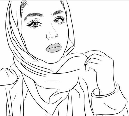 draw, drawing, and hijab image