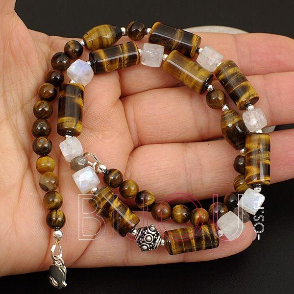 Чокер/короткие мужские бусы Белый тигр (тигровый глаз, лабрадор, лунный камень/адуляр, серебро 925)