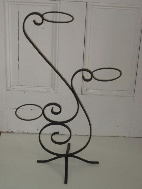 Vintage Scrolly Curvy Black Iron Plant Stand by whitefarmhouse