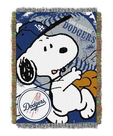 Loving this Peanuts Los Angeles Dodgers Tapestry Throw on #zulily! #zulilyfinds