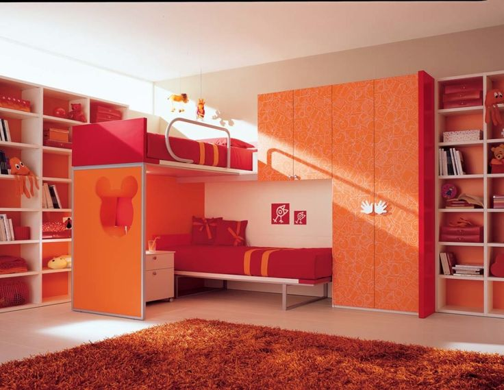 Impressive Kids Bedroom Decoration With Practical Bunk Beds Orange Red Ideas  Modern Furniture Decorating Schemes Cool Bunk Beds Kids Bedroom Cupboard ...