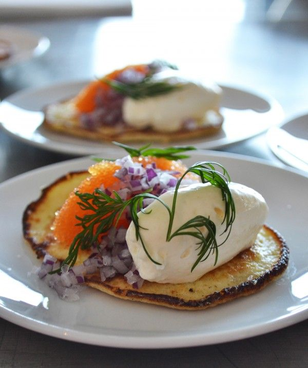 Swedish potato pancakes. Serve with caviar and lemon creme fraiche.  Or without caviar for a more vegetarian dish.
