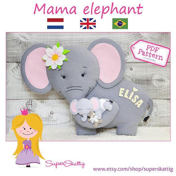 Apostila Mamãe e Bebê Elefante, moldes feltro by Superskattig