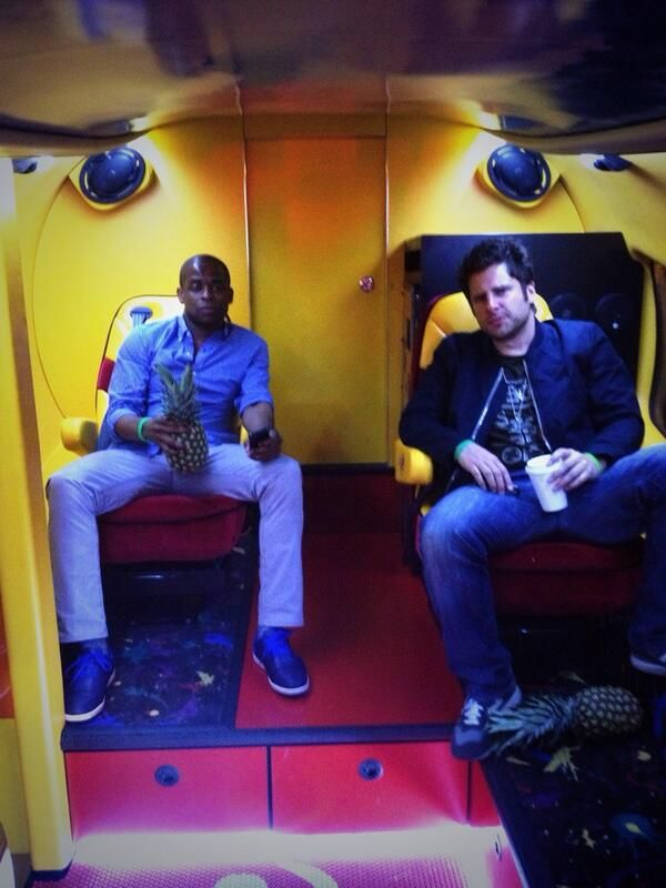 From Steve Franks twitter - Dule Hill and James Roday  trying to be the first men to solicit a prostitute from an actual wiener mobile.