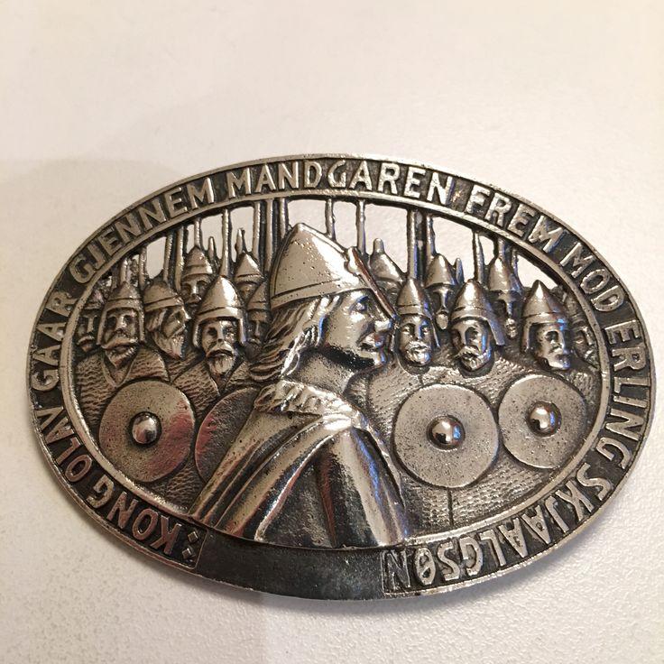 Gustav Gaudernack design for own workshop. Silver brooch with motif from viking saga. 1910-1914