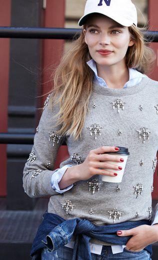 Jcrew Chandelier sweatshirt weekend style -- jcrew sweater! cute.