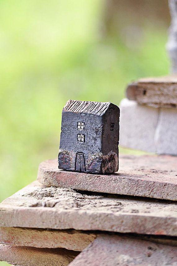 Raku Pottery Fired Black Ceramic Houses