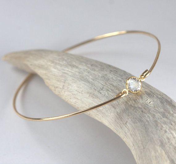 Swarovski Clear Gold Filled Bangle Bracelet Gold by TheresaRose, $20.00