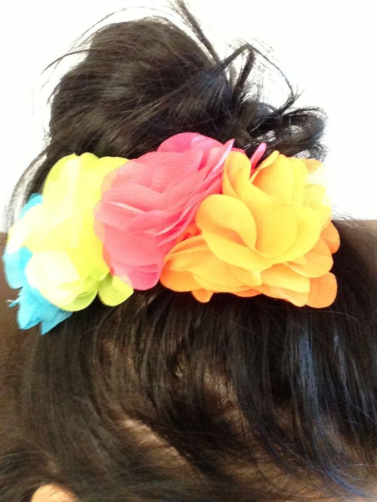 In hair custom made four flower hair piece!