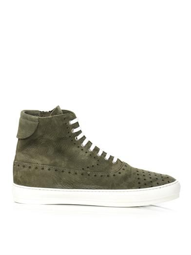 Perforated suede high top trainers | #AlexanderMcQueen