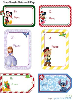Cute Disney Christmas gift tags that are free printables! Love the Sofia and Jake tags for the kids!