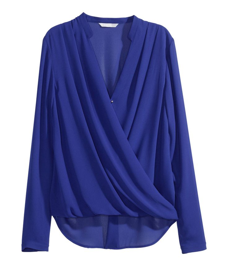 Electric blue blouse with long sleeves & beautifully-draped front. Shoulder pleats, metal buttons, and slightly longer back section. | H&M Modern Classics