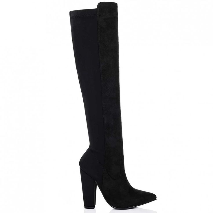 TORIA Stretch Block Heel Knee High Tall Boots - Black Suede Style