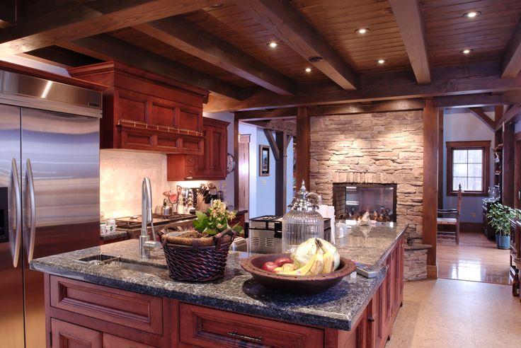Unique Kitchen Featured in Our Smokey Mountain Home! #TimberFrame #Log #Custom #SmokeyMountain #DiscoveryDreamHomes