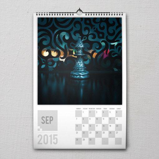 September 2015 #PremiumChessArtCalender #PremiumChess #chess #art #calender #kalender #LikeableDesign #illustration #3Dartwork #3Ddesign #chesspieces #chessart