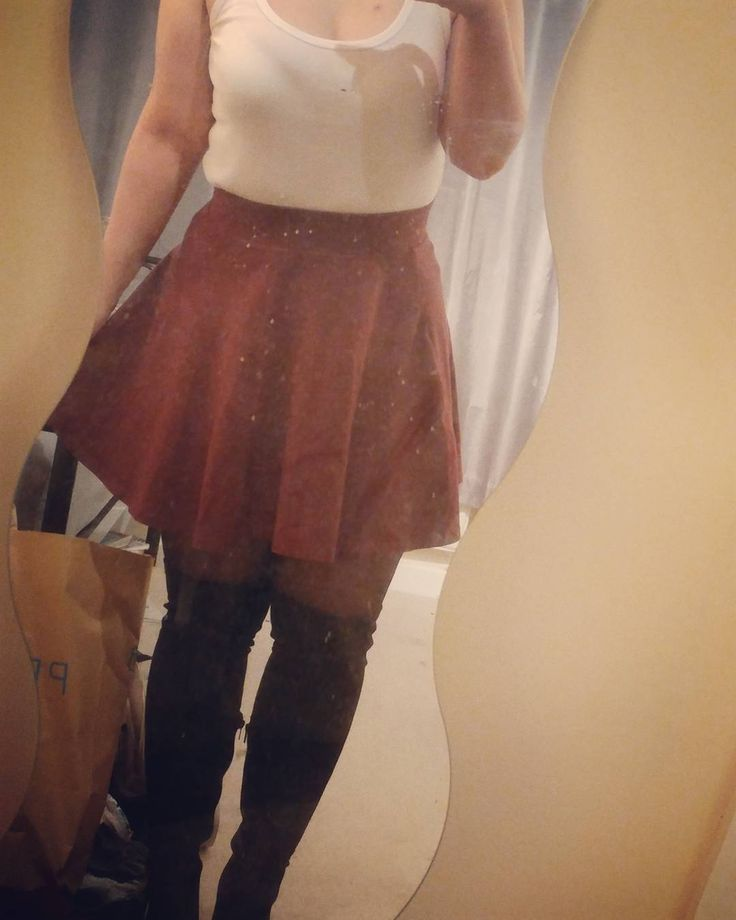 No.10 A colourful(?) outfit for me  Outfit details: Vest  Matalan @shopmatalan Skirt New Look @newlook Tights Primark @primark Boots New Look  #fashion #clothes #outfit #ootd #oldootd #old #red #white #skirt #overthekneeboots #newlook #notallblackeverything #notallblackclothes #cute #mirrorpic