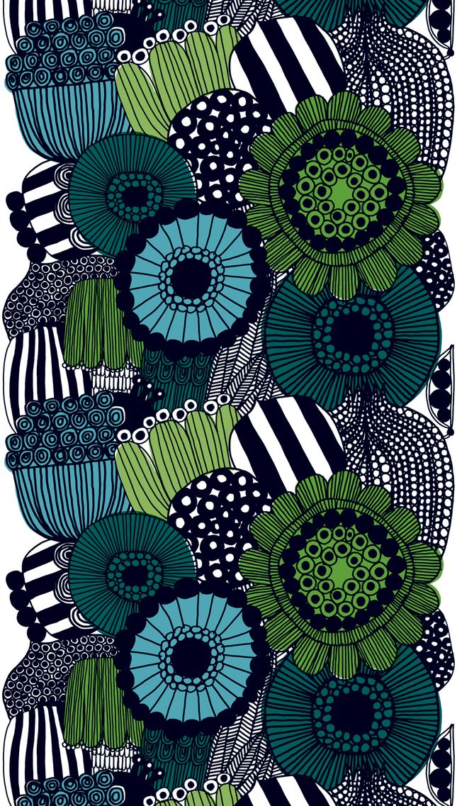 Can you ever get tired of Marimekko? In 2009 she designed this Siirtolapuutarha pattern, which has been put to many applications. The textile is meant to tell the story of the growth of flower and vegetable beds in Finland's urban areas.