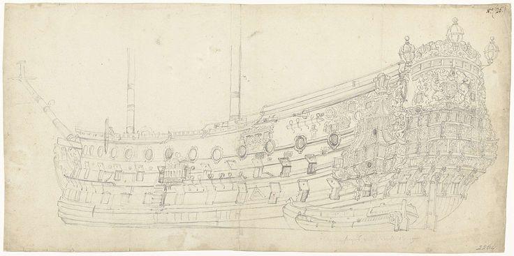 Willem van de Velde (I) | Een portret van het Engelse fregat Royal Prince, gezien vanaf linksachter, met een grote en een kleine sloep ernaast, Willem van de Velde (I), 1670 - 1693 | Een portret van het Engelse fregat Royal Prince, gezien vanaf linksachter, met een grote en een kleine sloep ernaast. De Engelse Royal Prince of Prince, een fregat uitgerust met honderd kanonnen, werd gebouwd in 1670. Bij een verbouwing in 1692 werd het schip omgedoopt tot de Royal William. Door Muller…