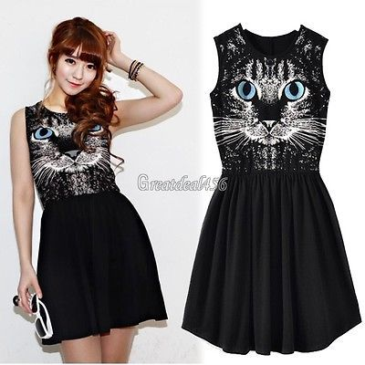 Blue Eyes Cat Print Sleeveless Cotton Vest Dress