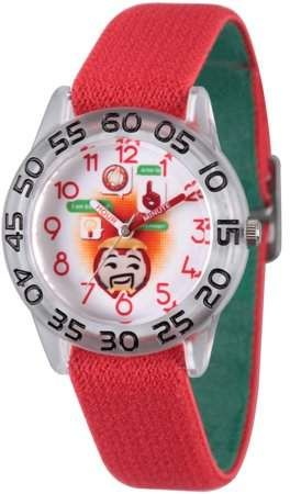 Marvel Emoji Kids' Iron Man Clear Plastic Time Teacher Watch, Reversible Red and Green Elastic Nylon Strap