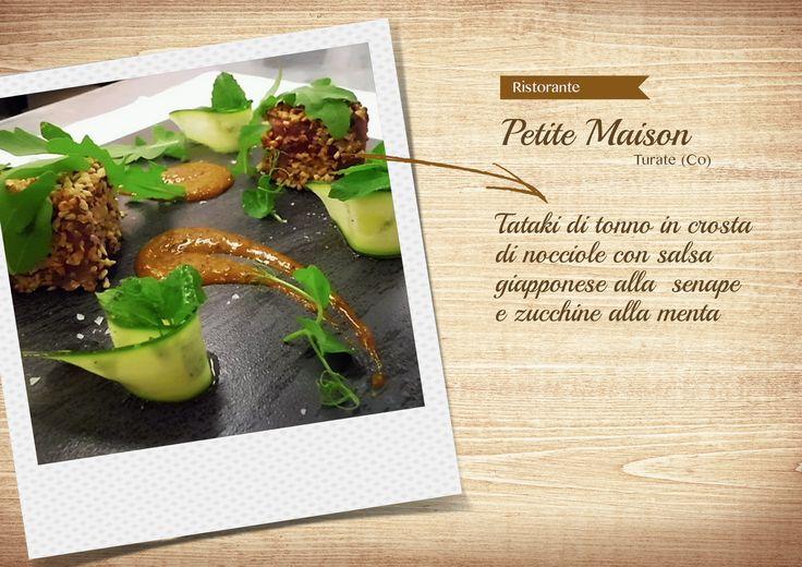 Tataki di tonno in crosta di nocciole con salsa giapponese alla  senape e zucchine alla menta