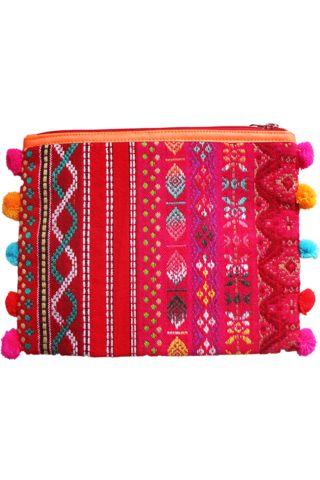 Farverig makeup taske med lynlås og pom pom'er