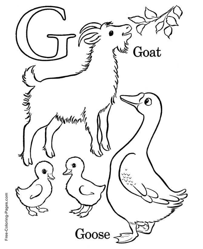 alphabet coloring sheets g is for goat