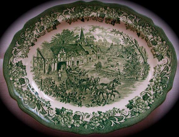 Green Transferware Platter Travelers Horses by EnglishTransferware