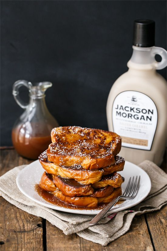 The secret to perfect French toast? Booze. (Boozy Salted Caramel French Toast made with Jackson Morgan SALTED CARAMEL Southern Cream Liqueur OMG)