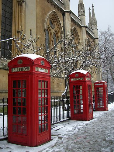 Love London at Christmas Time - classic red telephone boxes www.whistleandbango.com
