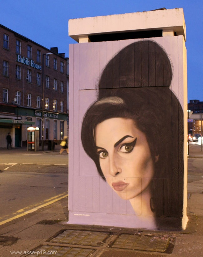 100% freehand spraypainted graffiti portrait of Amy Winehouse By Akse (P19 Crew) - Manchester (United Kingdom)