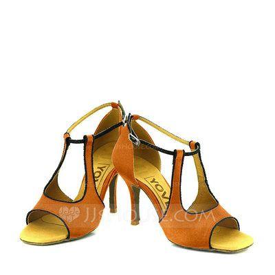 [R$ 117.98] Mulheres Cetim Saltos Sandálias Bombas Latino Sapatos de dança (053095742)