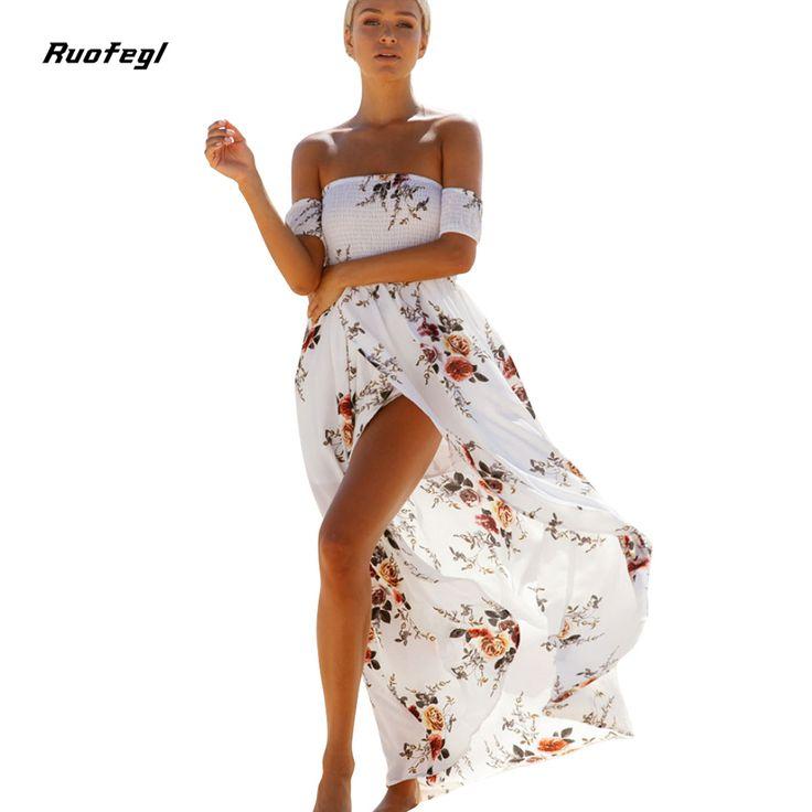 Ruofegl Boho long dress women Off shoulder Wrap beach summer dress 2017 Vintage chiffon white maxi dress kleider damen jurken