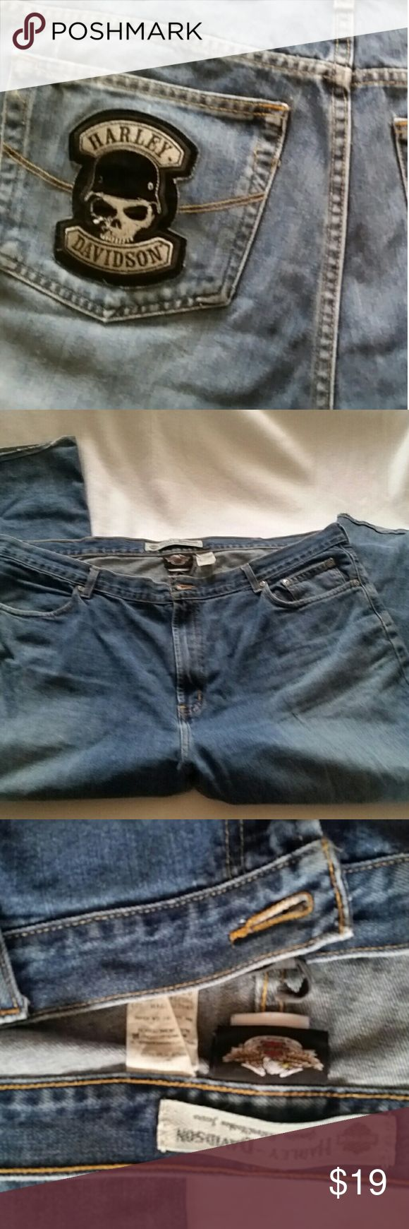 Harley Davidson jeans Samcro distressed Skeleton Biker jeans in pre-owned condition fraying on hems distressed in color also.  see pictures.  great jeans for biker dude or dudette. Skeleton head Harley Davidson and Samcro patches. the waist is about 46 and inseam is about 28  - if reconstructing em allow at least 3 inches to remove distress.  taq says size 16/32  it is definitely not a 32 so dont let picture fool you. : ) Harley-Davidson Jeans Bootcut