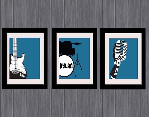 Boys room set of 3 band music personalised wall art for Band bedroom ideas