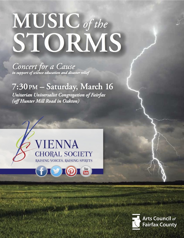 """Our poster for """"Music of the Storms"""" is out - and such an appropriate week for it! (Monday sleet, Tuesday warm, Wednesday ...humid?!, Thursday cold, Friday snow.)    As always, big shout out to Steven Keen (of Keen Method) for his great design eye!"""