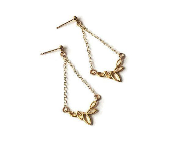 Dangly leaves earrings, leaf earrings, chain earrings, dangly earrings, gold filled earrings, nature earrings, dainty earrings, gold leaves
