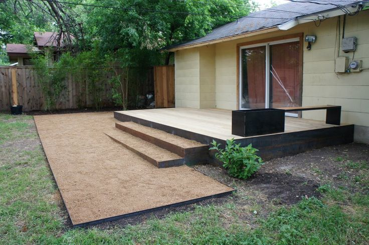 Decking and decomposed granite with steel edge