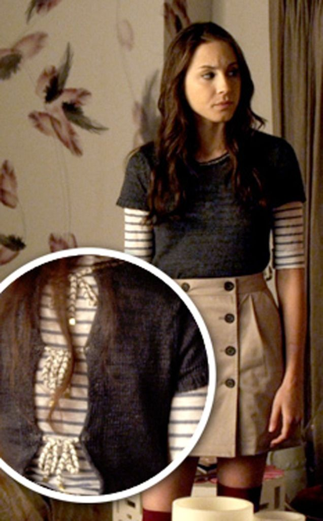 spencer hastings jackets - buttons in front, ties in back