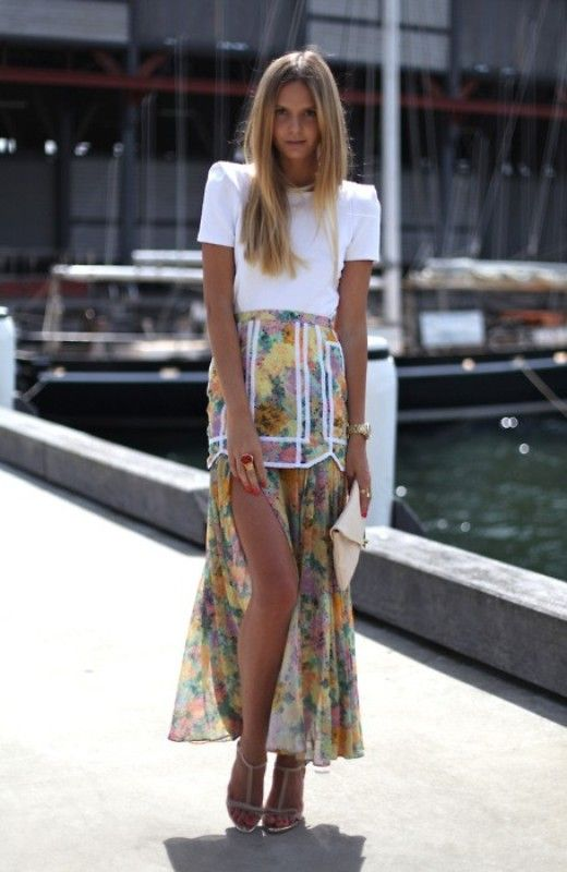 : Outfits Skirts, Floral Skirts, Woman Fashion, Fashion Clothing, Fashion Style, Outfits Inspiration, Jessica Stein, Fashion Inspiration, Floral Maxi Skirts