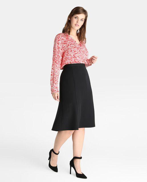 9b014a571 Falda básica de mujer talla grande Antea Plus en negro   Vestidos y ...