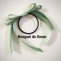 #133サテンロングリボンヘアゴム☆ミントグリーン  Handmade mint green ribbon hair accessory