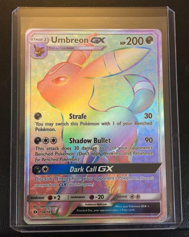 Umbreon GX Rainbow Hyper Secret Rare Pokemon Sun & Moon TCG Card 154/149