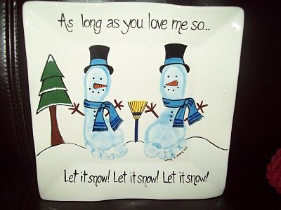 Footprint Snowman... As long as you love me so; Let it snow, let it snow, let it snow!- Re-pinned by @PediaStaff – Please Visit http://ht.ly/63sNt for all our pediatric therapy pins