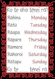 Image result for Days of the week in English and Te Reo